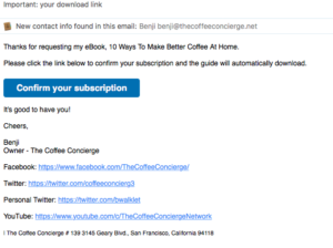 Coffee Concierge Email Confirmation