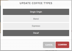 MistoBox Coffee Types