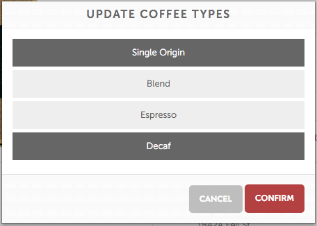 MistoBox Coffee Types