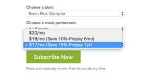 Bean Box Sampler Pricing