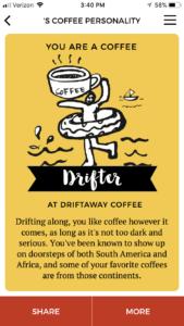 Driftaway Coffee Personality
