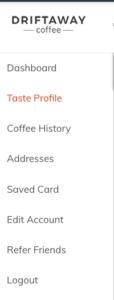 Driftaway Coffee Sidebar Navigation